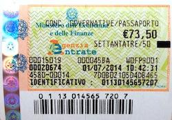 С 24 июня 2014 государственный сбор в размере 40,29 евро, вклеиваемый ежегодно в итальянский паспорт в виде гербовой марки (marca da bollo), отменен.